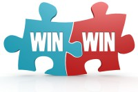 Blue and red with win win puzzle